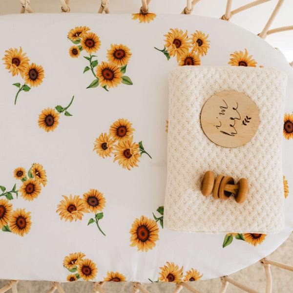 Snuggle Hunny Kids | Bassinet Sheet | Sunflower | White Fox & Co