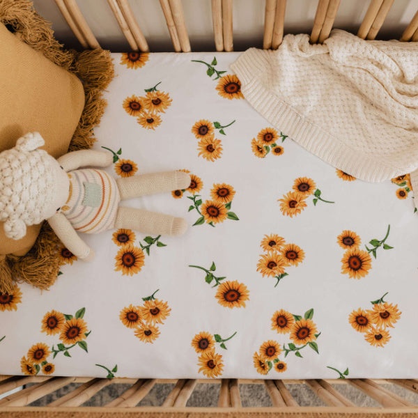 Snuggle Hunny Kids | Fitted Cot Sheet | Sunflower | White Fox & Co