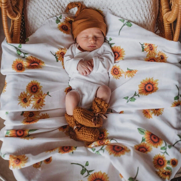 Snuggle Hunny Kids | Organic Muslin Wrap | Sunflower Print | White Fox & Co