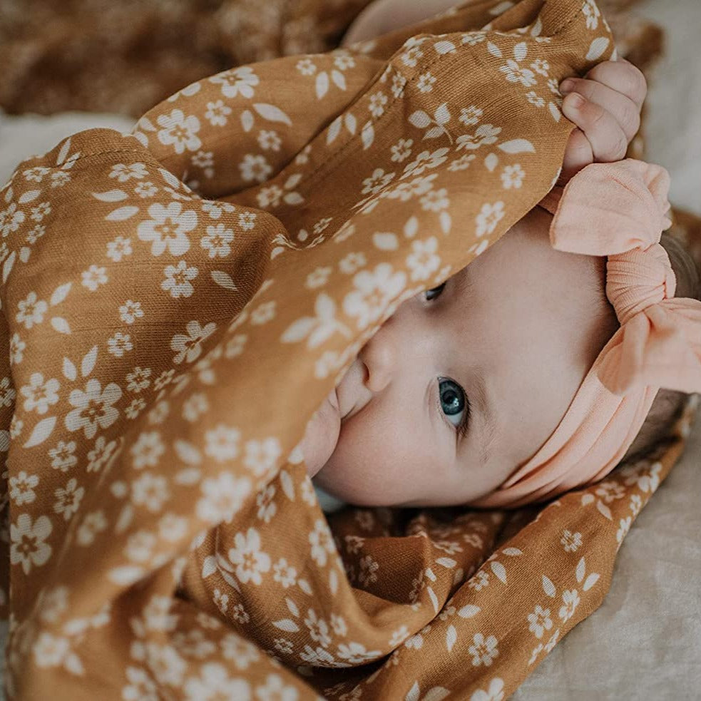 The Mini Scout | Swaddle | Whimsy Floral | Mustard | White Fox & Co