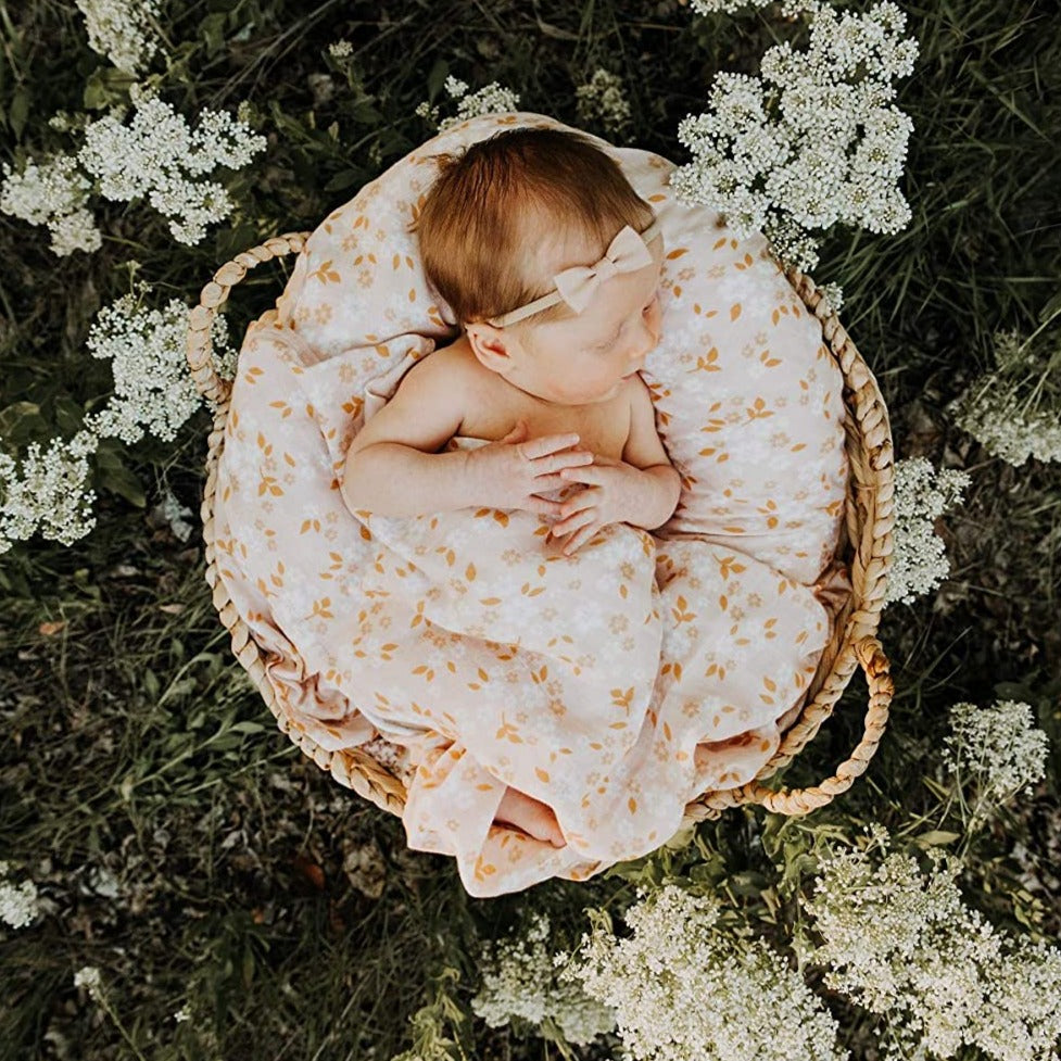 The Mini Scout | Swaddle | Whimsy Floral | Peach | White Fox & Co