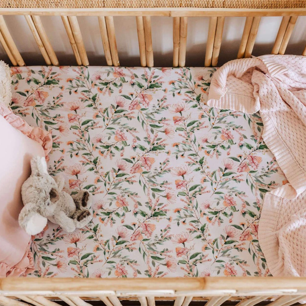 Snuggle Hunny Kids | Fitted Cot Sheet | Wattle | White Fox & Co