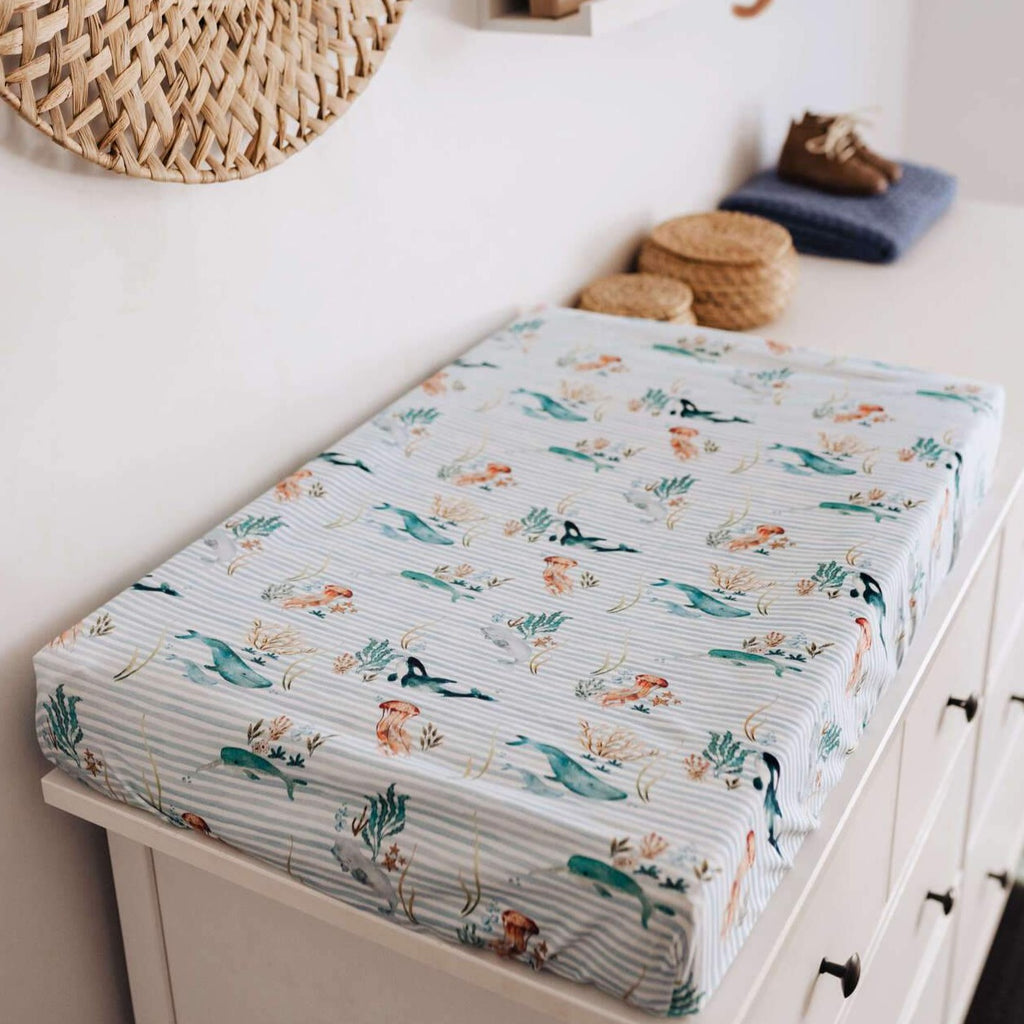 Snuggle Hunny Kids | Bassinet Sheet | Whale | White Fox & Co
