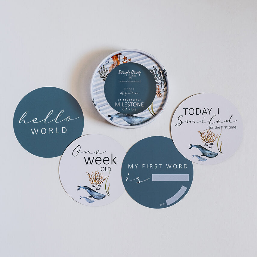 Snuggle Hunny Kids | Milestone Cards | Whale | White Fox & Co