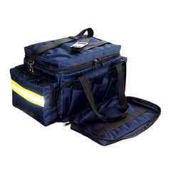 LINE2design First Aid EMS Paramedic EMT Trauma Bag with Hard Bottom & Loop Straps - Navy Blue