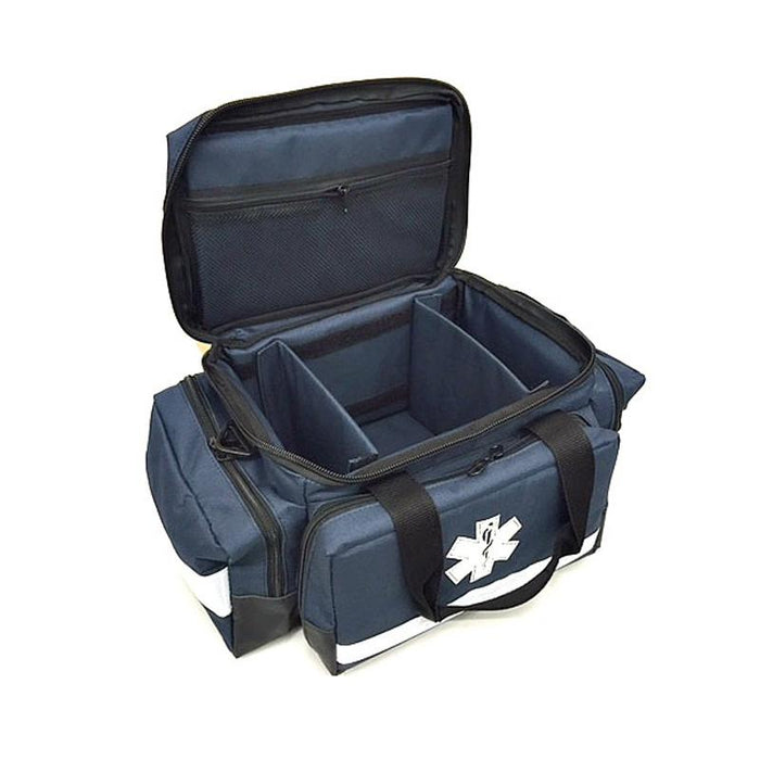 LINE2design First Aid EMS EMT Trauma Bag - Star of Life Logo Bag with Zippered Pockets, Reflective Trim & Shoulder Straps - LINE2EMS - Trauma Bags