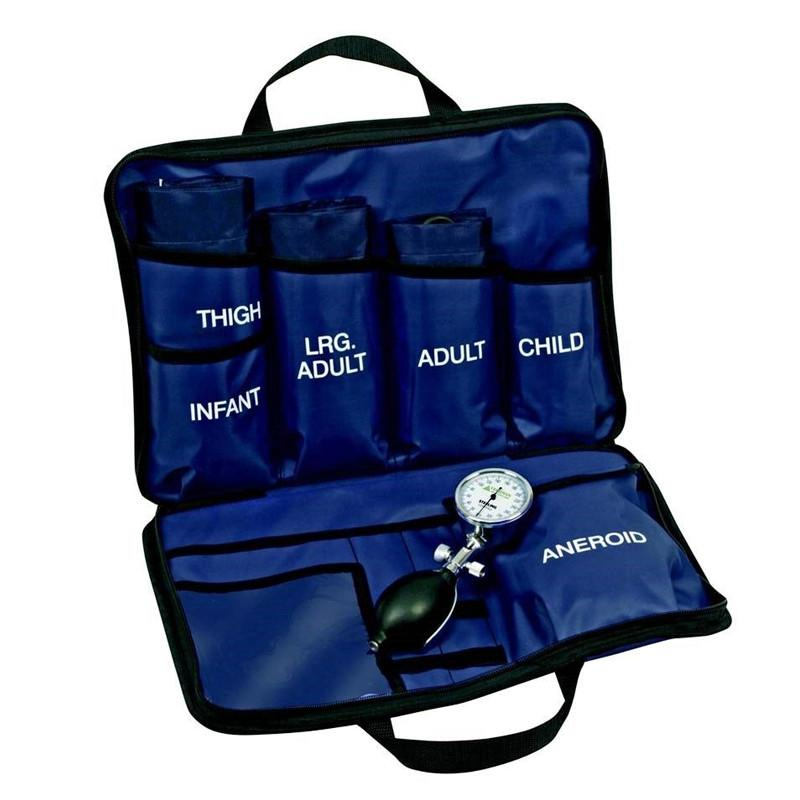 LINE2design Blood Pressure Cuff Kit, 5 BP Cuffs with an Aneroid Gauge and Nylon Carrying Case - Blue