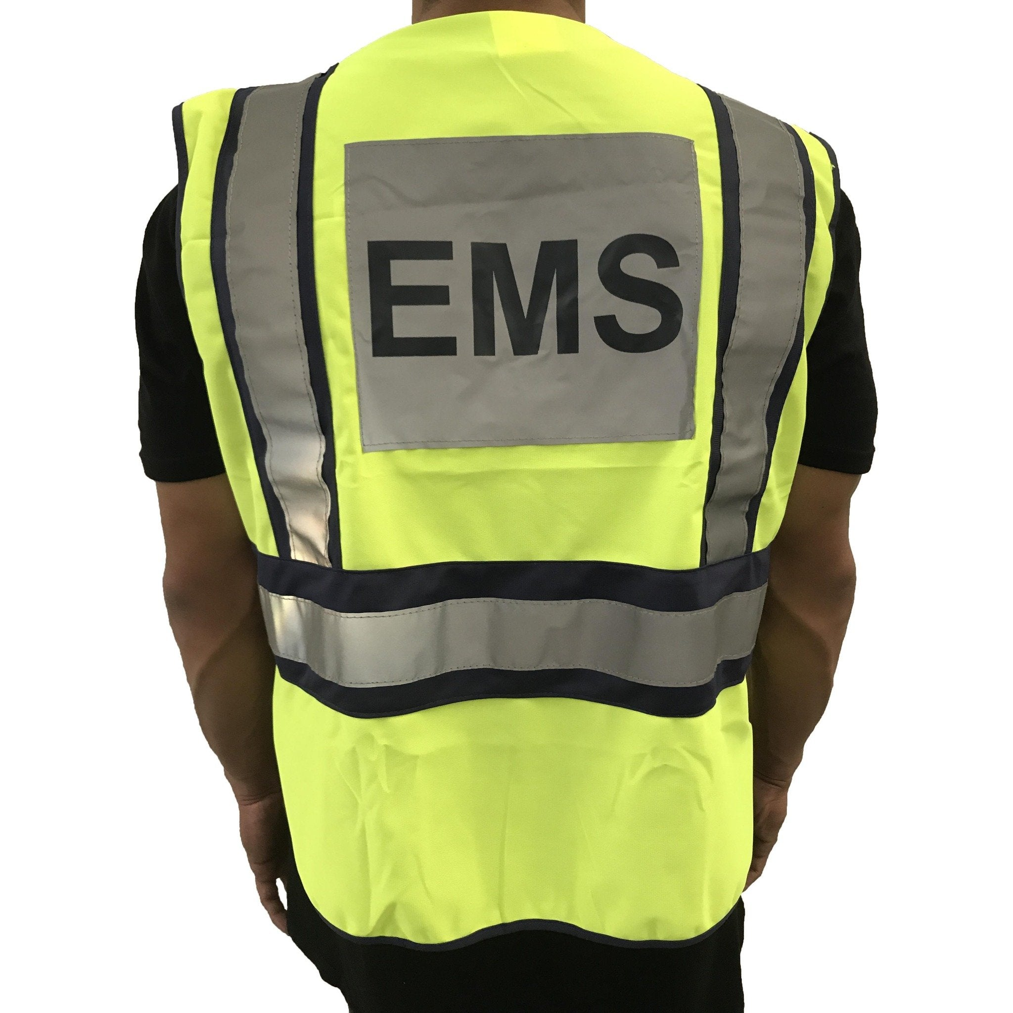 LINE2design EMS Safety Vest ANSI Polyester Fabric Yellow with Reflective Trim, Outlined in Navy