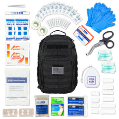 LINE2design Emergency Medical Stop Bleeding First Aid Kit, Tactical MOLLE Backpack Fully Stocked Rescue Kit