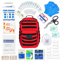 LINE2design Emergency Medical Stop Bleeding First Aid Kit, Tactical MOLLE Backpack Fully Stocked Rescue Kit-Red