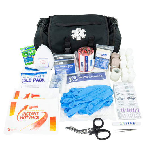 LINE2design Emergency First Aid Responder Kit Medical EMS Economic Fully Stocked Bag For All Emergencies - Black