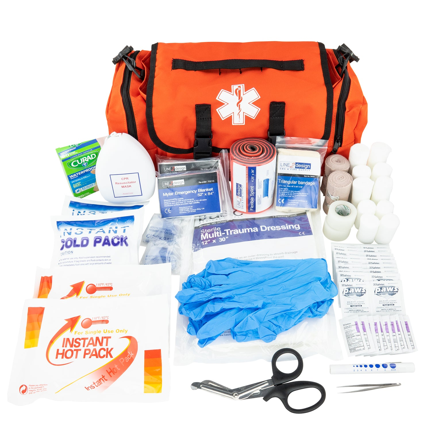LINE2design Emergency First Aid Responder Kit Medical EMS Economic Fully Stocked Bag For All Emergencies - Orange