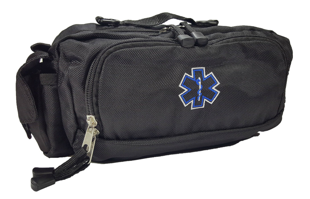 LINE2design Deluxe First Aid Nylon Star of Life Logo Fanny Pack EMT Paramedic Bag With Internal Pockets - LINE2EMS - Equipment Bags & Cases