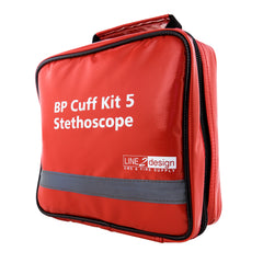 Blood Pressure Multi-Cuff Kit 5 with Extra Large High Contrast Gauge and Stethoscope, Red