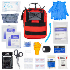 LINE2design Basic Individual First Aid MOLLE Kit, Emergency Medical Kit, Trauma Stop Bleeding Kit, Gunshot Emergency Kit-Red