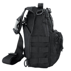 LINE2design Sling Backpack, Bleeding Control Sling Bag, Over The Shoulder Sling Backpack, MOLLE Bag for First Aid Day Pack - Black