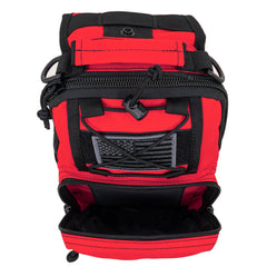LINE2design Sling Backpack, Bleeding Control Sling Bag, Over The Shoulder Sling Backpack, MOLLE Bag for First Aid Day Pack - Red