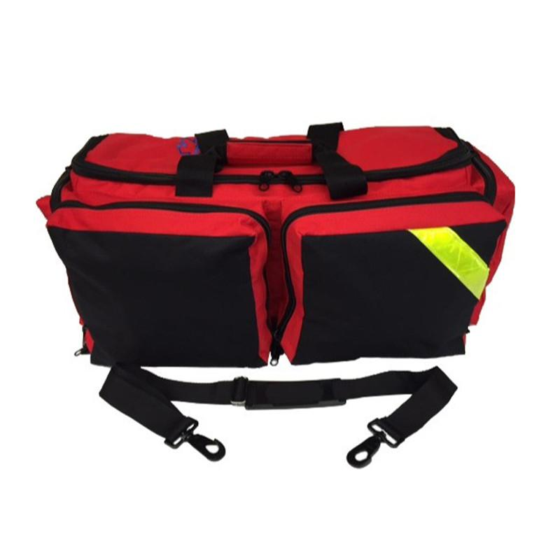 LINE2design First Aid Deluxe EMS Medical Oxygen Bag EMT Paramedic Fully Padded with Shoulder Straps & Yellow Trim - Red - LINE2EMS - Oxygen Bags
