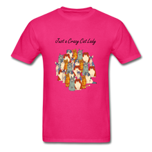 Load image into Gallery viewer, Just a Crazy Cat Lady T-Shirt - fuchsia