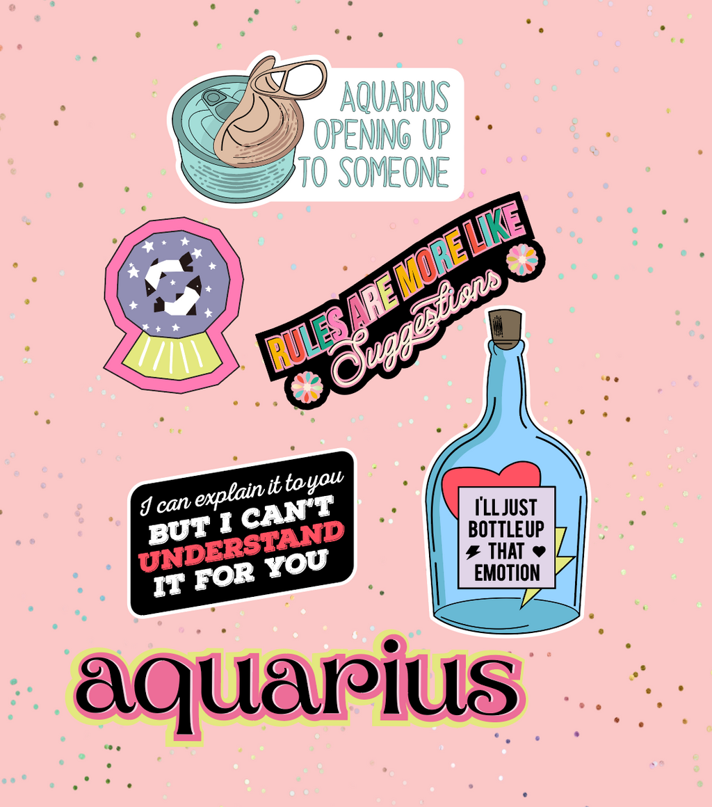 Aquarius Astrological Sticker Sheet