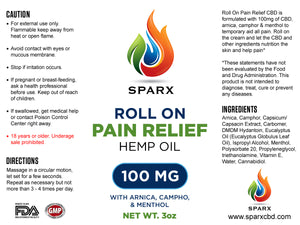 ACTIVE RELIEF - SPARX - ROLL-ON PAIN RELIEF - 3oz - 100mg