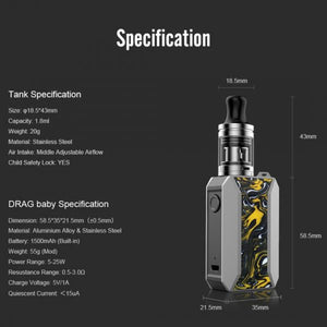 VOOPOO - Ceylon Yellow - DRAG Baby Trio Starter Kit