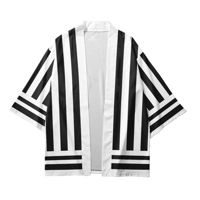 Japanese Kimono | Back and White Striped Shirt