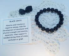Load image into Gallery viewer, Black Onyx Healing Gemstone  Bracelet