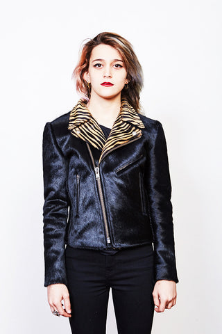 Women's Rivington Motorcycle Jacket (Black + Baby Tiger Hair on Hide) *MADE-TO-ORDER*