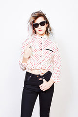 Voidoid Button Up (Red Polka Dot)