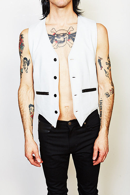 The Outlaw Vest (White Cowhide)