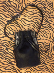 Black Pony Hair Bucket Bag