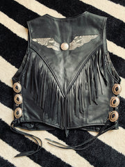 Vintage Leather Fringe Vest w/ Snakeskin Detail