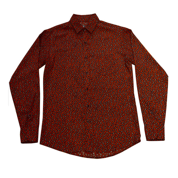 RED LEOPARD BUTTON–UP