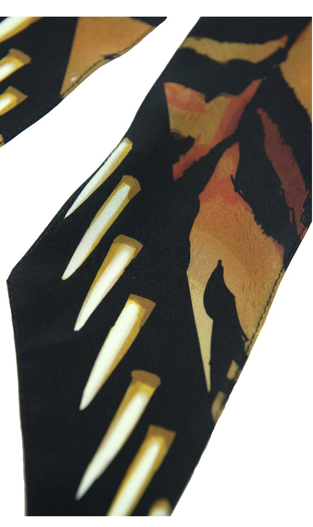 Tiger Super Skinny Silk Scarf (Gold)
