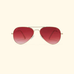 TV EYE Aviators (Gold w/Dark Red Gradient Lense)