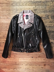 WOMEN'S BOWERY MOTORCYCLE JACKET Pink Cheetah Lapels