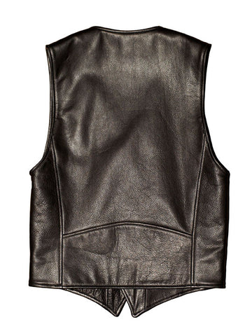 The Outlaw Vest (Black Cowhide + Leopard Lining)