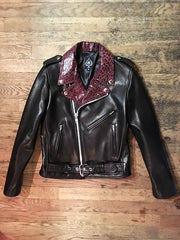 WOMEN'S BOWERY MOTORCYCLE JACKET Bourdeaux Cheetah Lapels