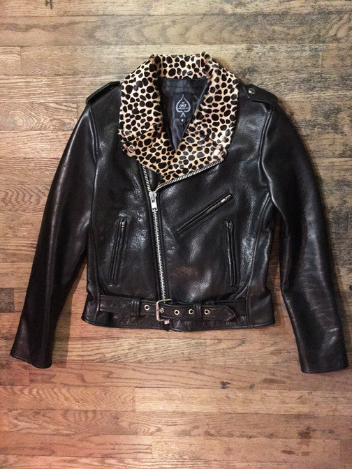 WOMEN'S BOWERY MOTORCYCLE JACKET Cheetah Lapels