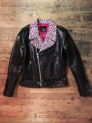 WOMEN'S BOWERY MOTORCYCLE JACKET Hot Pink Leopard Lapels