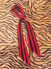 Marquee Super Skinny Silk Scarf (Red & Black)