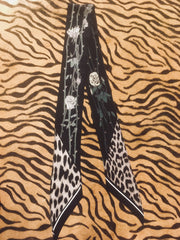 Rose Leopard Super Skinny Scarf (Midnight)