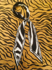 Zebra Super Skinny Silk Scarf (Black & White)