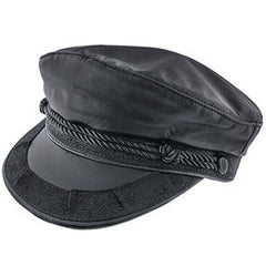 Greek Fisherman Hat (Black Leather)