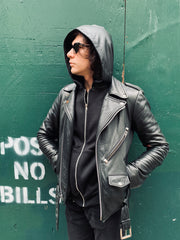 Unisex Zip-Up Leather Hoodie