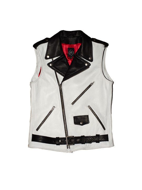 Men's Bowery Motorcycle Vest (White + Black)