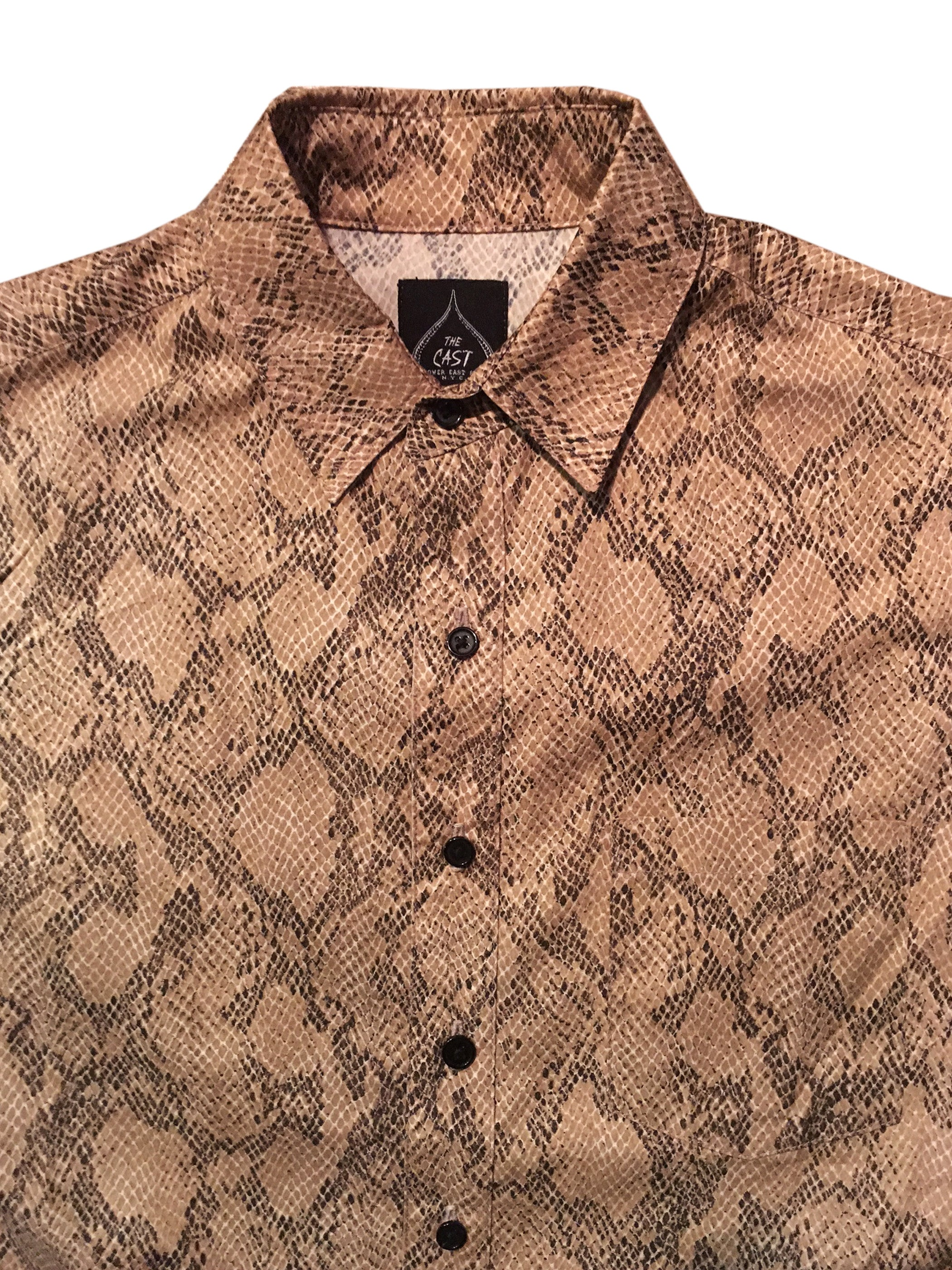 Snakeskin Short Sleeve Button Up