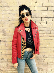 Women's Essex Motorcycle Jacket Lipstick Red w/Baby Tiger Detail