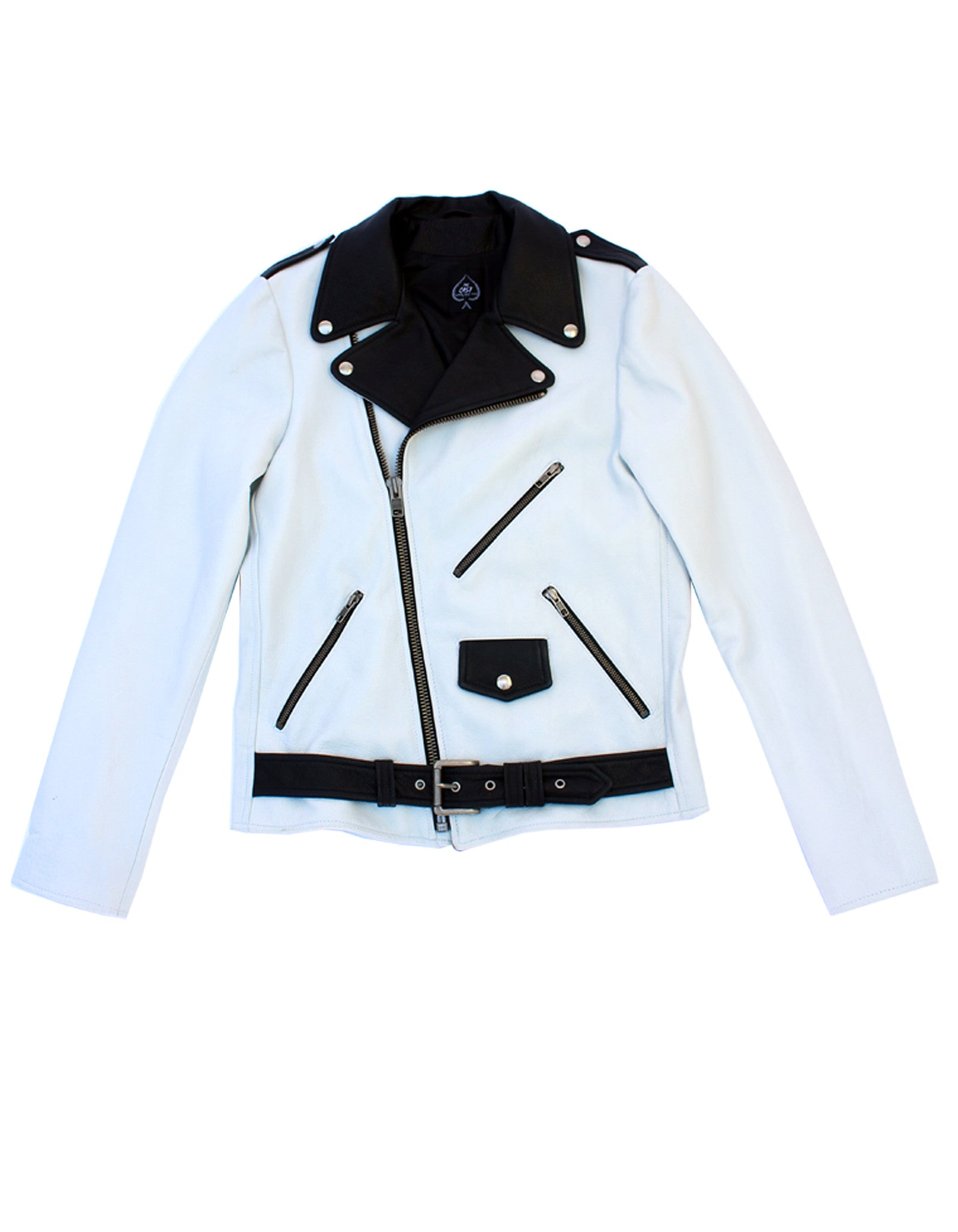 Men's Bowery Motorcycle Jacket (White & Black Combo)